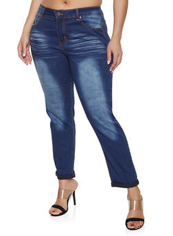 Plus Size VIP Whisker Wash Rolled Cuff Jeans - 1870065300014