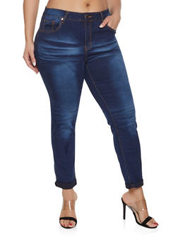 Plus Size VIP Dark Whisker Wash Jeans - 1870065300118