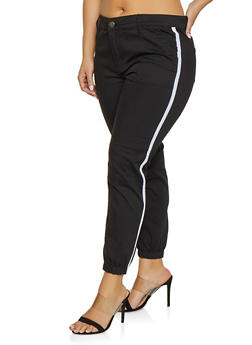Plus Size VIP Side Stripe Denim Joggers - 1870065300127