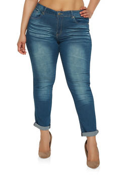 Plus Size VIP Whisker Wash Jeans - 1870065300295