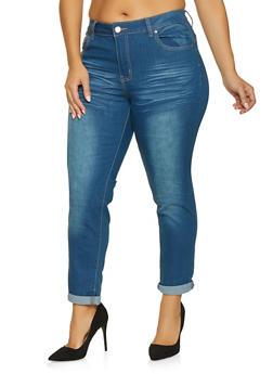 Plus Size VIP Whisker Wash Push Up Jeans - 1870065300296