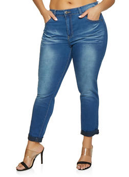 Plus Size VIP Rolled Cuff Whisker Jeans - Blue - Size 14 - 1870065300399