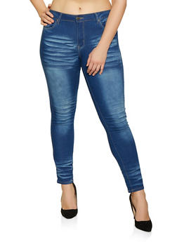 Plus Size VIP Whisker Wash Push Up Jeans - 1870065300583