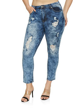 Plus Size VIP Acid Wash Distressed Jeans - 1870065300699
