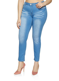 Plus Size VIP Whiskered Skinny Jeans | 1870065300834 - Blue - Size 14 - 1870065300834