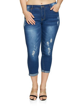 Plus Size VIP Frayed Roll Cuff Jeans - Blue - Size 14 - 1870065300852
