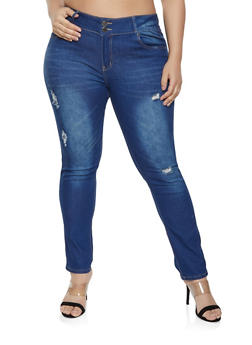 Plus Size VIP Frayed Jeans | Medium Wash - 1870065301115