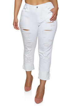 Plus Size Frayed Twill Pants - 1870065301137