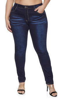 Plus Size VIP Frayed Pocket Jeans - 1870065301211