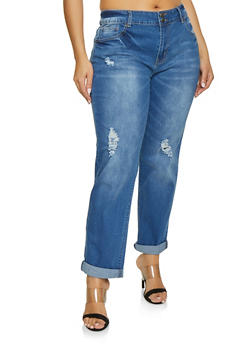 Plus Size VIP Medium Wash Roll Cuff Jeans - 1870065301426
