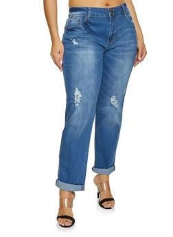 Plus Size VIP Medium Wash Roll Cuff Jeans - Blue - Size 20 - 1870065301426