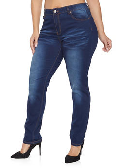 Plus Size VIP Whisker Wash Push Up Jeans - 1870065301839