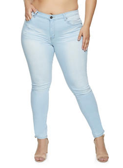 Plus Size VIP Solid Push Up Whiskered Jeans - 1870065301938