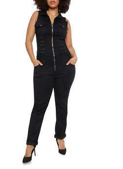 Plus Size VIP Lace Up Detail Denim Jumpsuit - BLACK - 1870065302171
