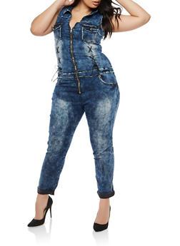 Plus Size VIP Lace Up Detail Denim Jumpsuit - 1870065302171
