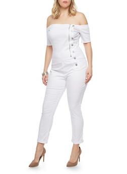 Plus Size Off the Shoulder Denim Jumpsuit - 1870065302953