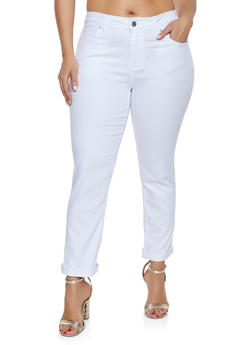 Plus Size VIP Push Up Roll Cuff Jeans - 1870065303771