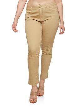 Plus Size Push Up Khaki Pants - 1870065306317