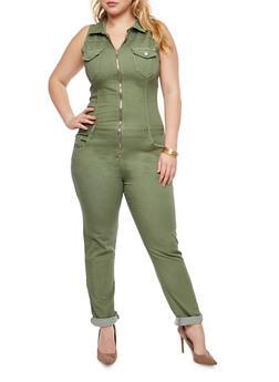 Plus Size VIP Zip Front Jumpsuit - OLIVE - 1870065306653
