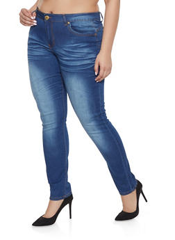 d15b5215664 Plus Size VIP Whisker Wash Push Up Jeans - 1870065306819