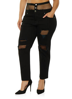 Plus Size VIP Fishnet Trim Jeans - 1870065307831