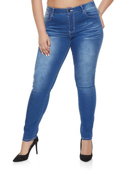 Plus Size VIP Whisker Wash Jeans | Medium Wash - 1870065308392