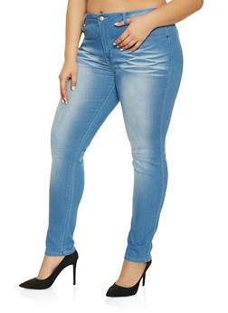 Plus Size VIP Whisker Wash Push Up Jeans - 1870065308399