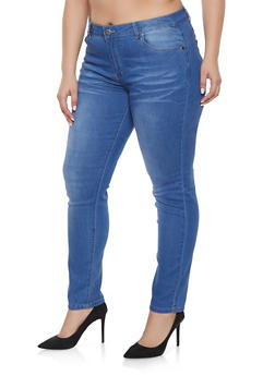 Plus Size VIP Whisker Wash Push Up Jeans - 1870065308640