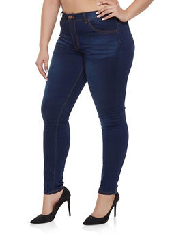 Plus Size VIP Whisker Wash Push Up Jeans - 1870065308641