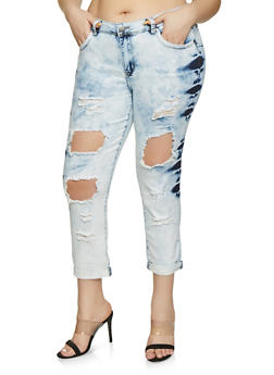 Plus Size VIP Ripped Jeans | Light Wash - 1870065308833