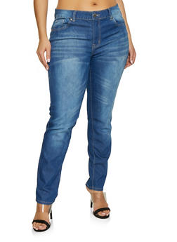 Plus Size VIP Distressed Jeans | Medium Wash - 1870065308890