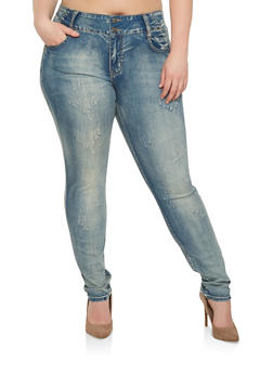 Plus Size VIP Two Button Skinny Jeans - 1870065308997