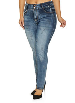 Plus Size VIP Frayed Push Up Jeans - 1870065309050