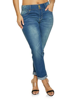 Plus Size VIP Dark Wash Roll Cuff Jeans - 1870065309227