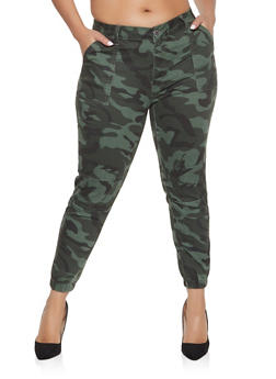 Plus Size VIP Push Up Camo Joggers - 1870065309532