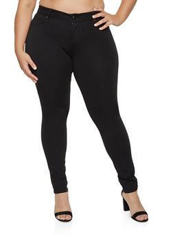 Plus Size Basic Stretch Jeggings - 1870068191195