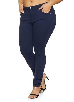 Plus Size Push Up Ponte Pants - 1870068191404