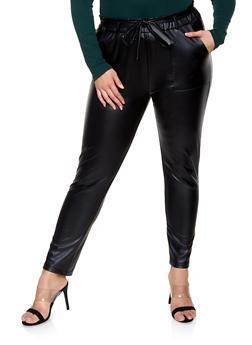 Plus Size Faux Leather Paper Bag Waist Pants - 1870068193051