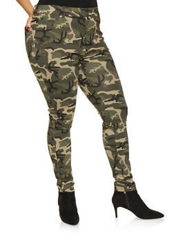 Plus Size Camo Ponte Knit Pants - 1870068193123