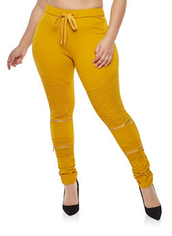 Plus Size Zipper Detail Moto Jeggings - 1870068193197