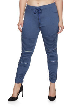 Plus Size Ruched Moto Jeggings - 1870068193890
