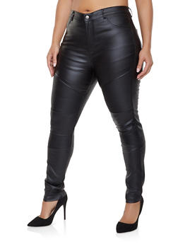 Plus Size Shinestar Coated Moto Jeans - 1870068193923