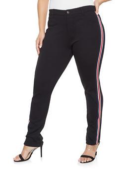 Plus Size Striped Tape Ponte Knit Pants - 1870068197093
