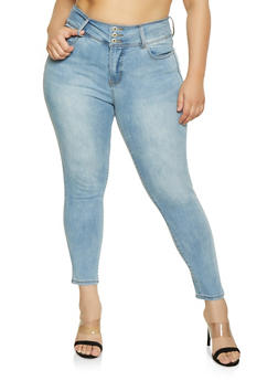 Plus Size Highway 3 Button Push Up Jeans - 1870071311402