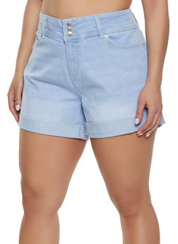 Plus Size Highway Whiskered Denim Shorts - 1870071315074