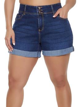 1df0c6e26120fa Plus Size Highway Whiskered Denim Shorts - 1870071315074