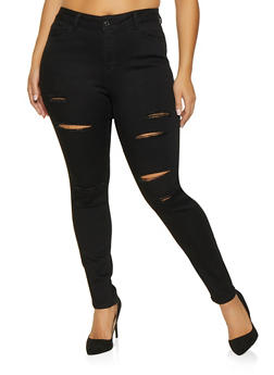 Plus Size WAX Slashed Skinny Jeans - 1870071610003