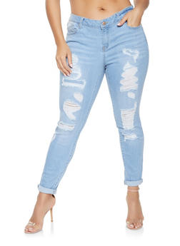 Plus Size WAX Distressed Jeans - 1870071610010