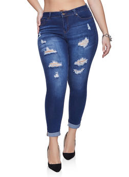 Plus Size WAX Push Up Fixed Cuff Jeans - 1870071610033
