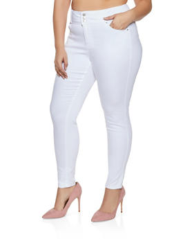 Plus Size WAX 3 Button High Waisted Jeans - 1870071610040